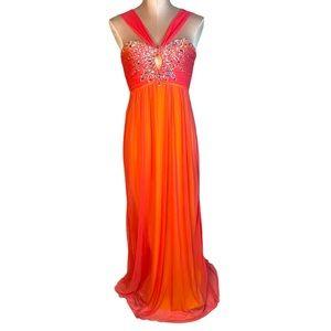 Jodi Kristopher Embellished Prom Dress Train Flowy